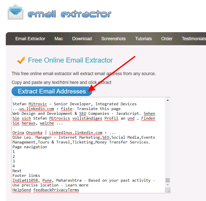 clcik on extract email addresses to scrape email