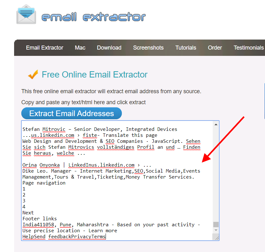 paste all selected scrape email addresses content into email extractor