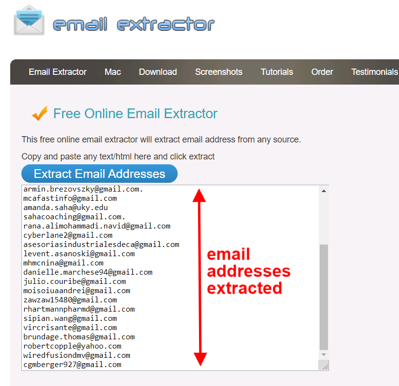 scrape email addresses extracted result