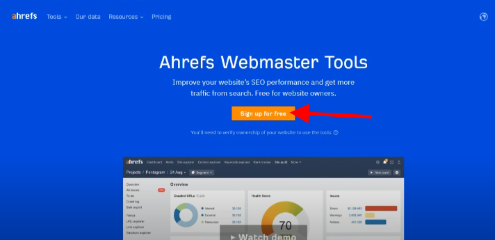 signup for free ahrefs webmaster tool