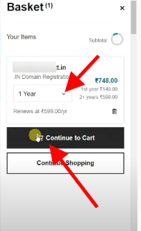 add to cart a domain name on godaddy