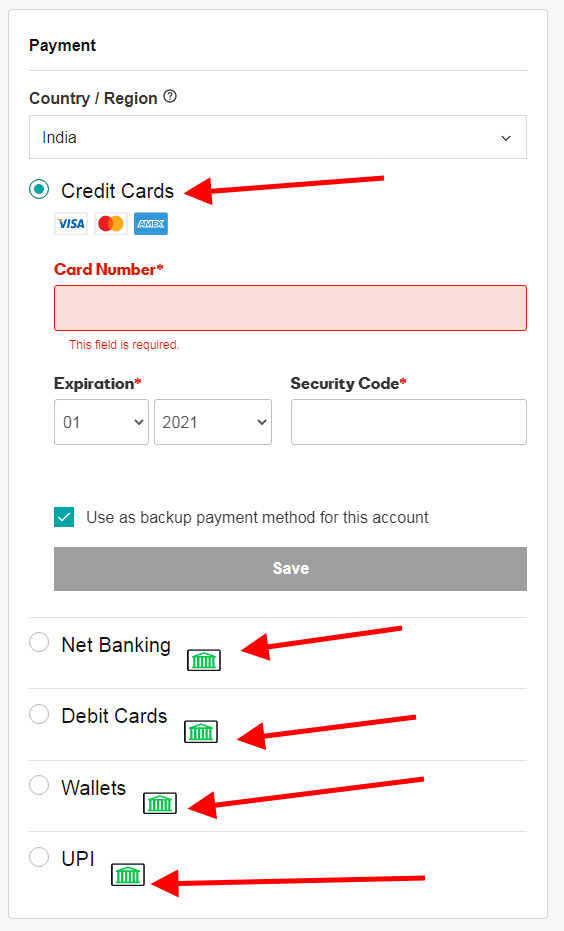 payment option godaddy