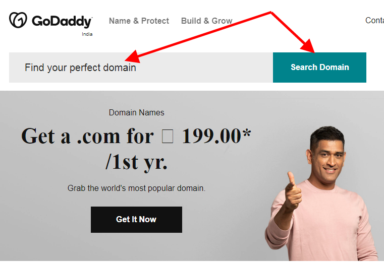 search a domain name on godaddy
