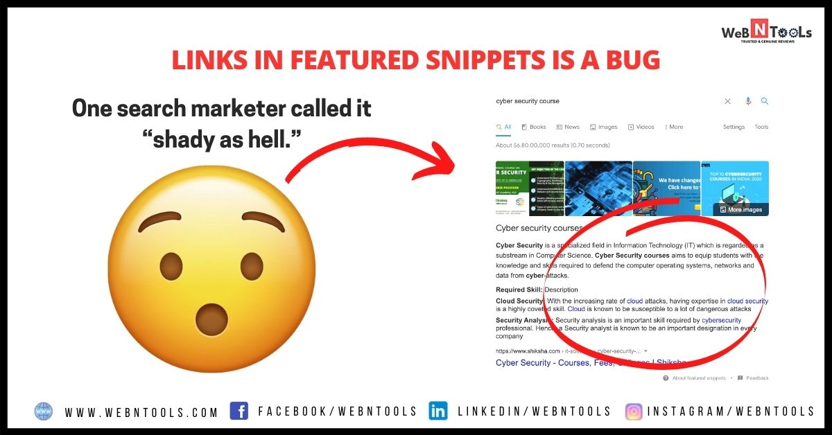 Links in Featured Snippets is a Bug - Google May 2021 Update