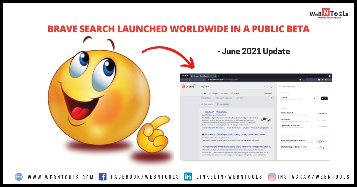 Brave Search Launched Worldwide In A Public Beta - June 2021 Update
