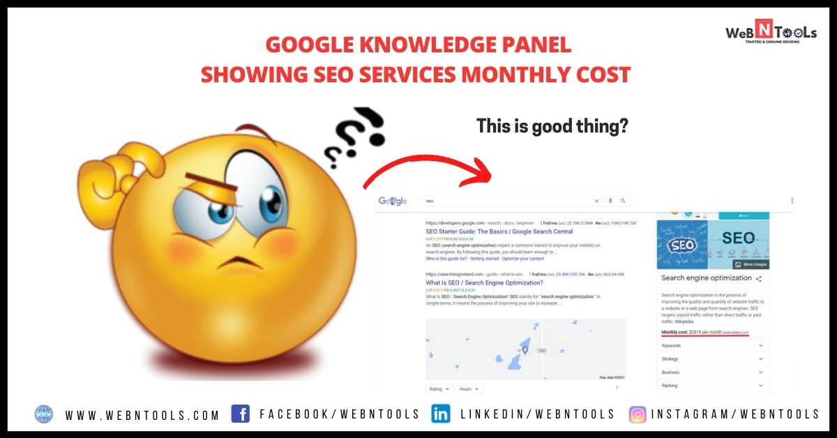 Google Knowledge Panel Showing SEO Services Monthly Cost - June 2021 Update
