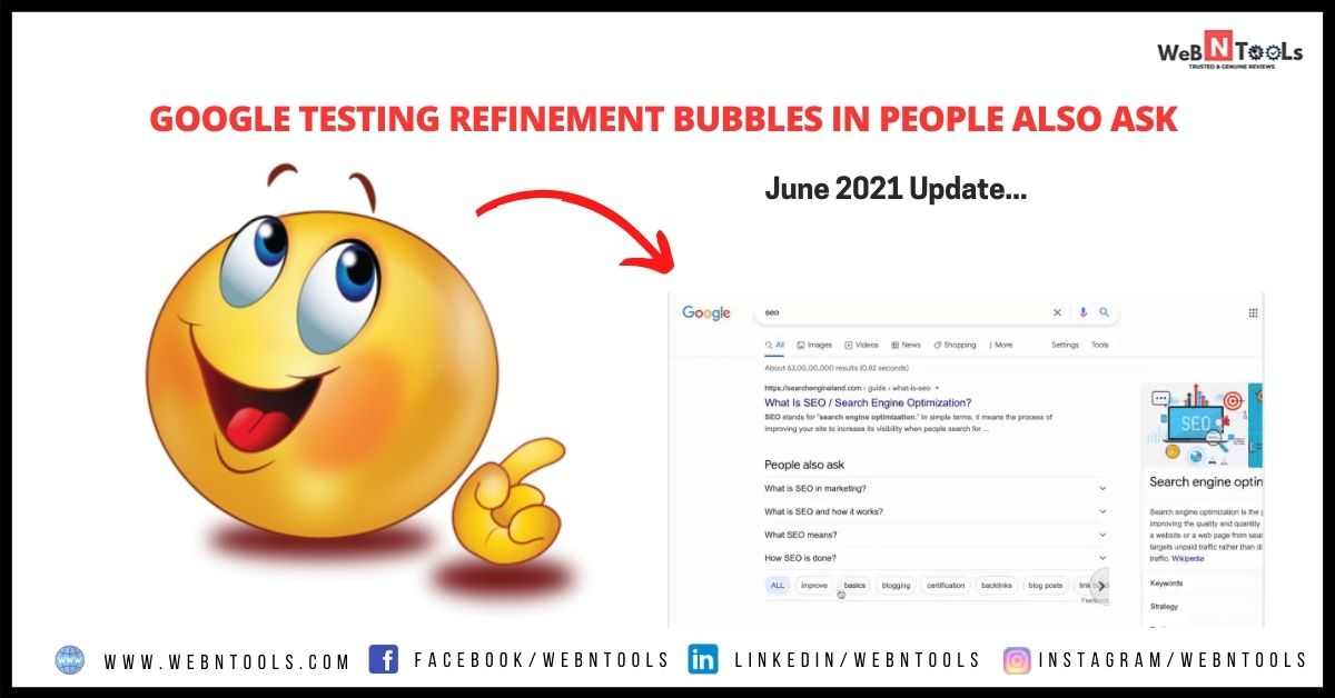 Google Testing Refinement Bubbles In People Also Ask - June 2021 Update